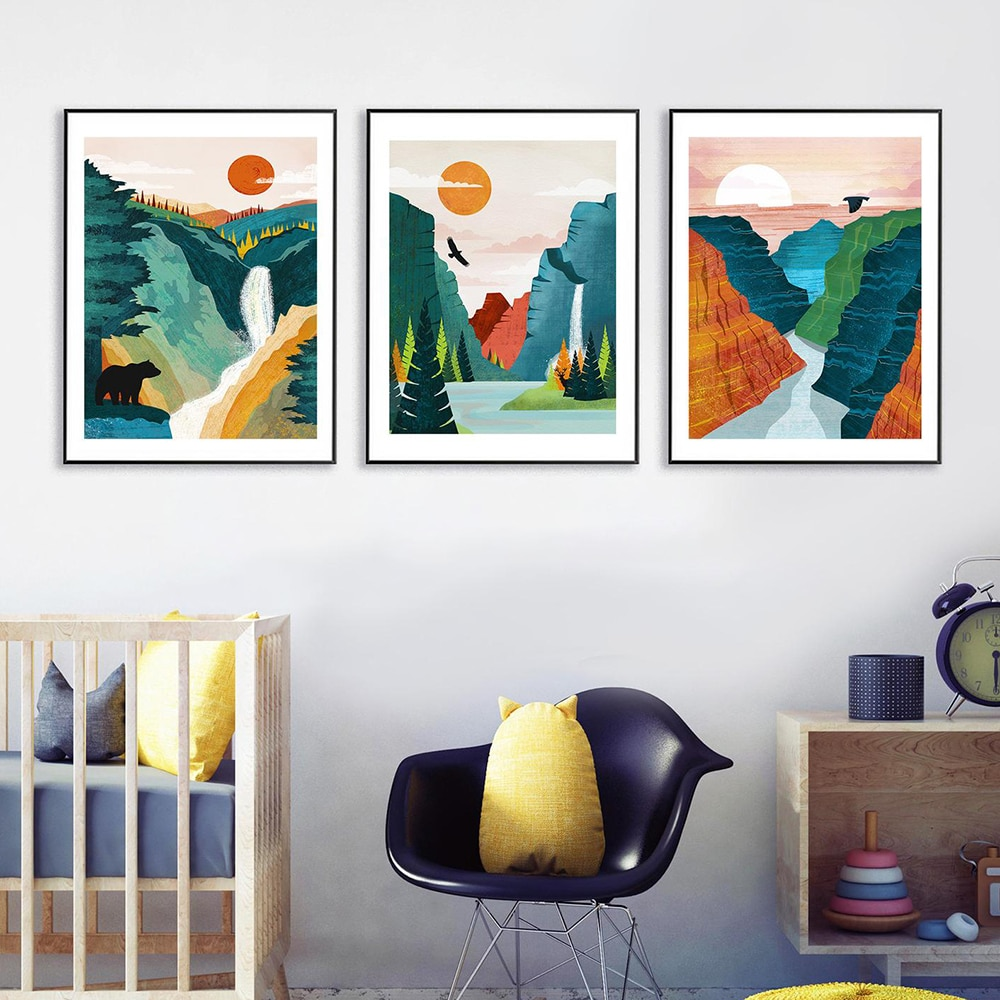 Pósteres e impresiones de paisaje pintura de paisaje montaña amanecer nórdico Gran Cañón decoración única imágenes artísticas de pared para sala de estar