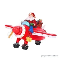 p8de christmas collectible figurine santa claus driving propeller statues with led light village scene glowing ornament