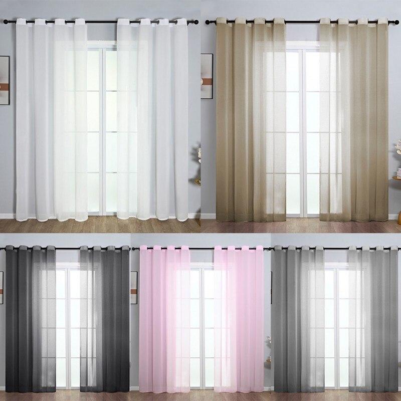 ستائر ملونة لغرفة المعيشة ستائر نوافذ من التل الشفاف من الفوال ستائر ستائر حديثة شفافة من قماش التول منسوجات منزلية
