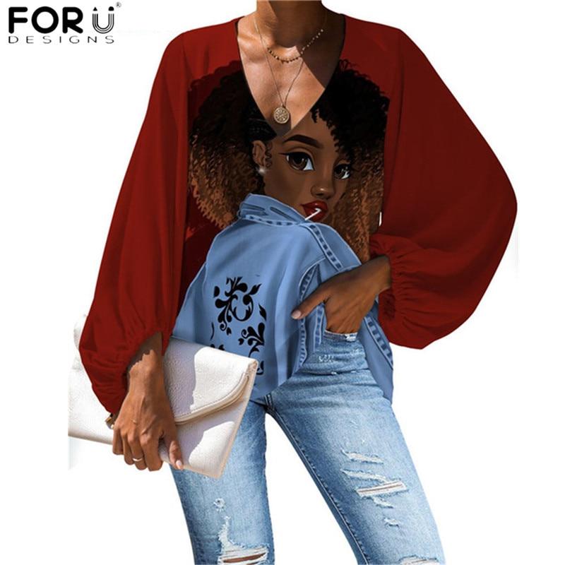 FORUDEGINS, blusa para mujeres, Moda Africana para niñas, trajes de señora, Boho, manga larga, Tops para Mujer con cuello en V, ropa de playa para verano