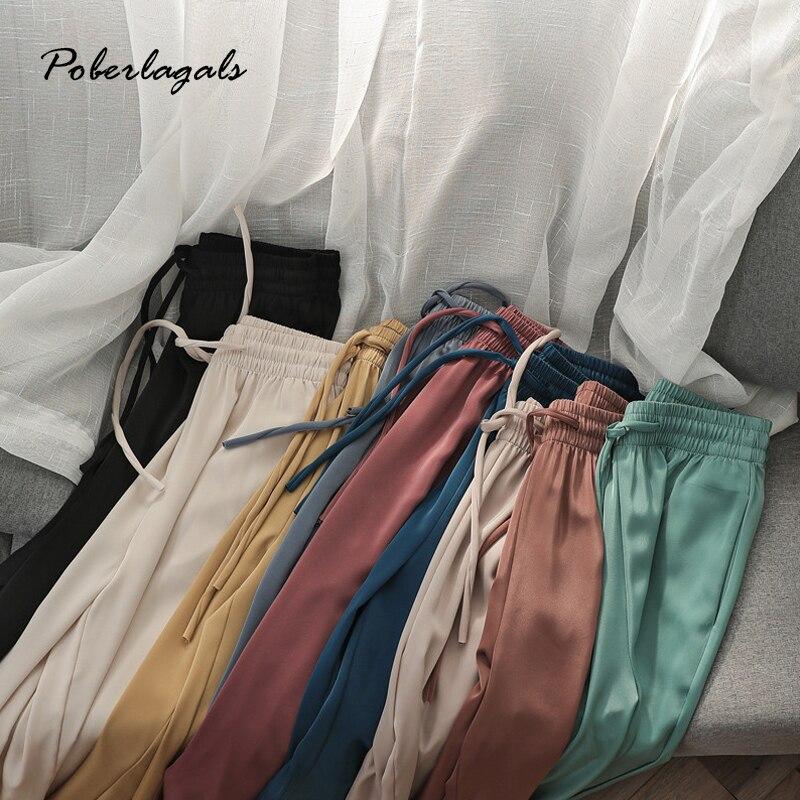 Pantalones informales de verano de alta calidad para mujer, con lazo recto, salvaje suelto, pantalones de pierna ancha 2020, pantalones finos de cintura alta para mujer