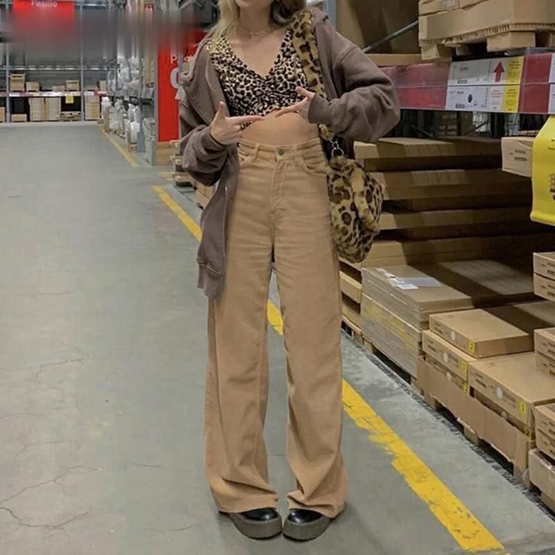 Women's wide leg slacks, independent aesthetic pants, plain corduroy, Y2K, high waist, retro, 90s st