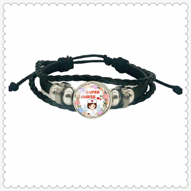 Newest Stethoscope Nurse Syringe Pattern with Text Leather Bracelet Classic Fashion Men and Women Bracelet Gift Jewelry