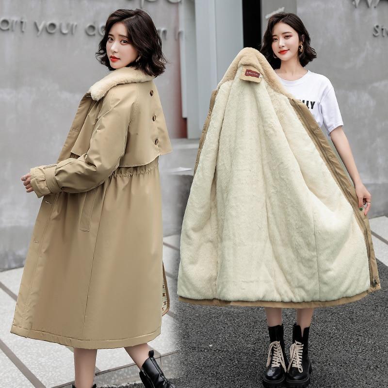 Женское Свободное пальто на молнии, Корейская зимняя куртка средней длины, новинка 2021, утепленное плюшевое пальто, модная куртка, лидер прод...