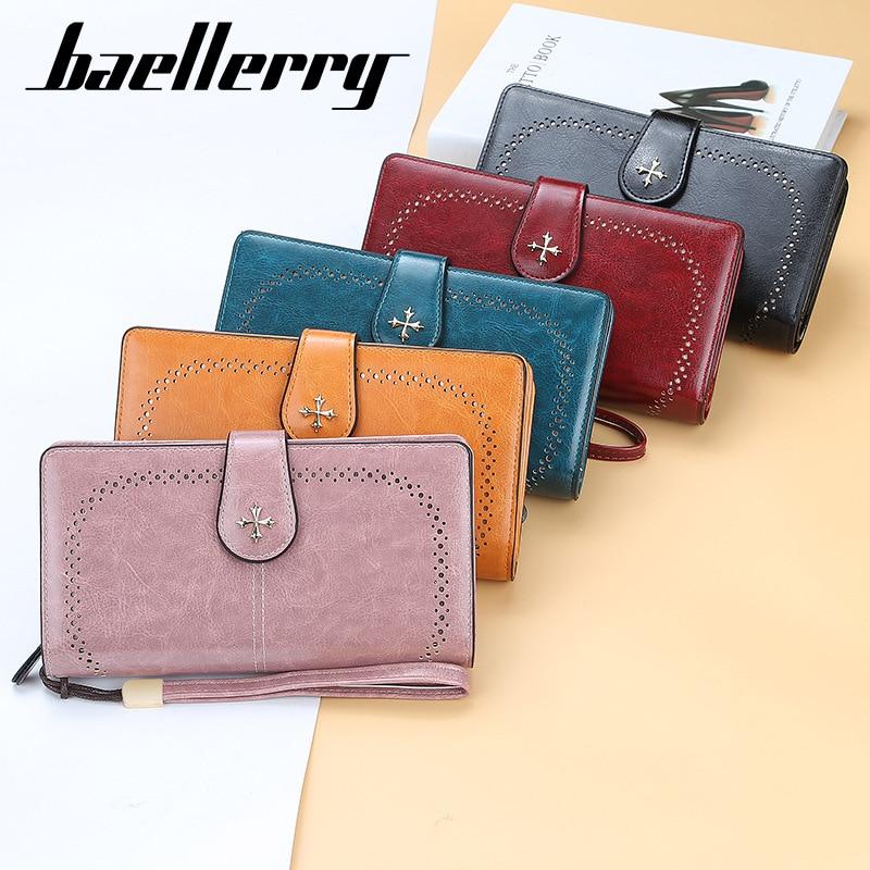 baellerry ladies wallet retro fashion zipper coin purse simple long creative multi-card position clu