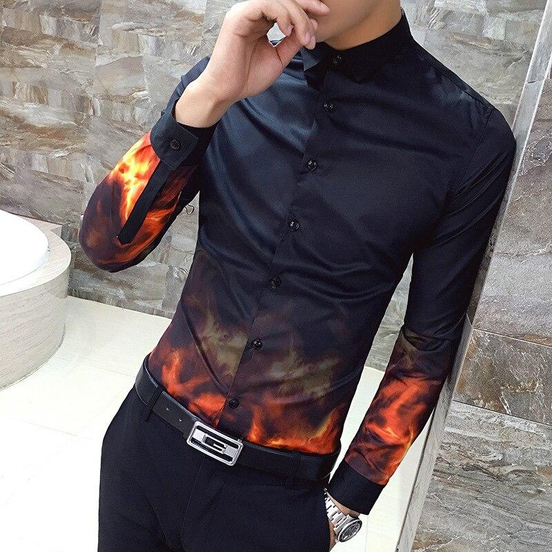 Hot Print Shirt Men Long Sleeve Slim Fit Shirt Men Casual Korean Fashion Night Club Party Shirt Men Camisas Masculina