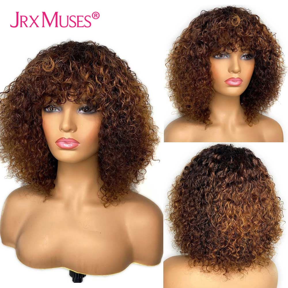 Short Jerry Curly Pixie Cut Bob Human Hair Wigs With Bang Honey Blonde Colored Full Machine Made Wigs for Black Women Remy Hair
