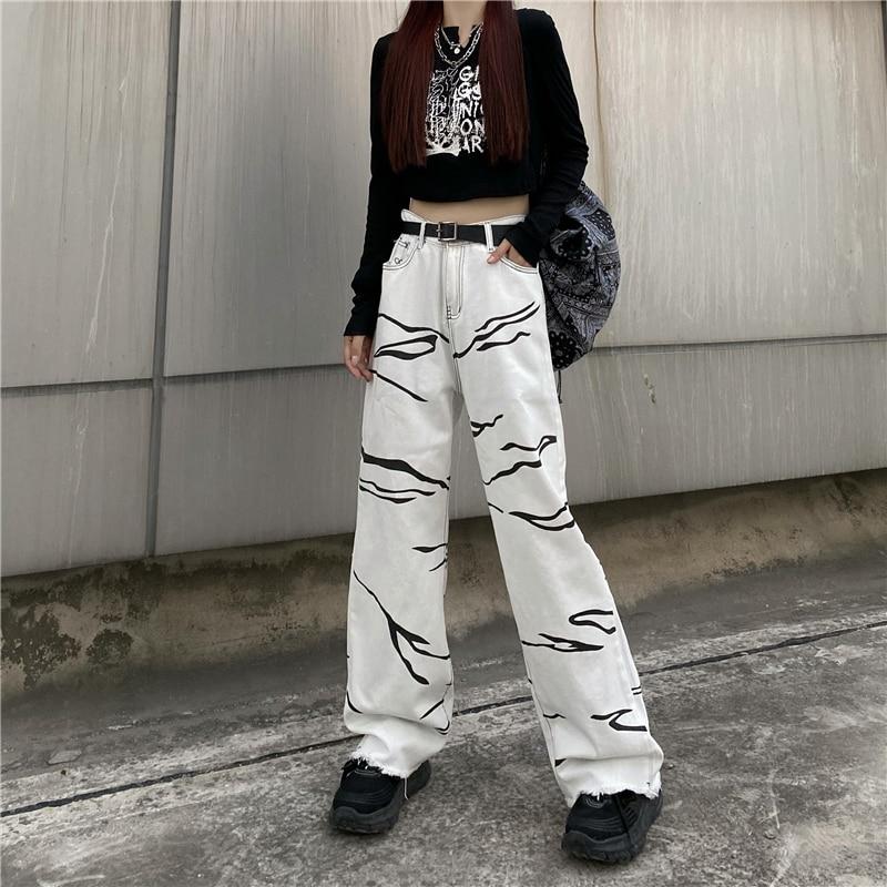 Женские джинсы с низкой посадкой, белые свободные широкие джинсы с рисунком в Корейском стиле, y2k, осень 2021