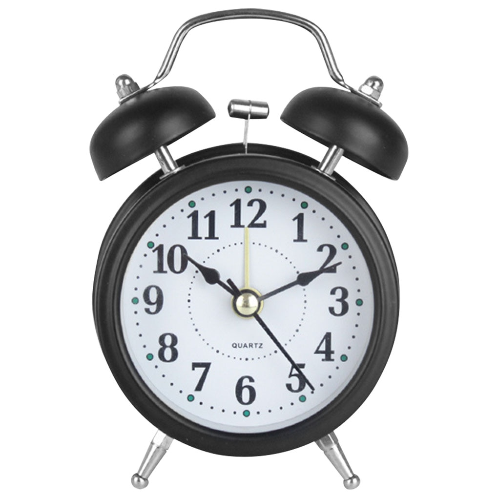 3 inch Twin Bell Alarm Clock Metal Frame 3D Dial with Backlight Night Light Desk Table Clock for Home Office