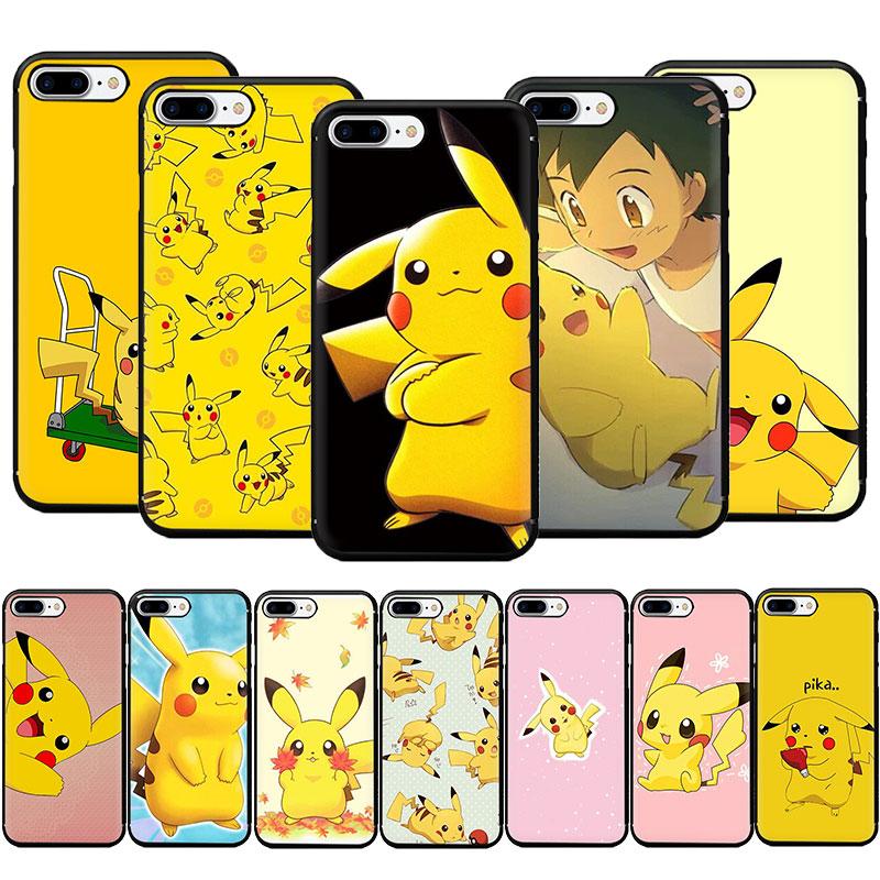 Ewau pikachu macio silicone caso de telefone para iphone 5 5s se 6s 7 8 plus x xr xs 11 pro max