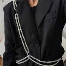 Ins Pearl Waist Chain Fashion All-Match Korean Style Elegant Shirt Suit Belt Female Ornament Crossbo