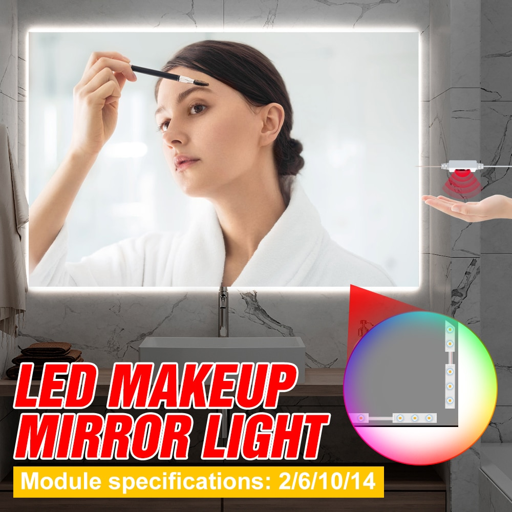 USB LED Mirror Light Makeup Bulb Vanity Lamp Cosmetic Lights 12V Hand Sweep Sensing Makeup Hollywood Wall Lamp 2 6 10 14 Bulbs