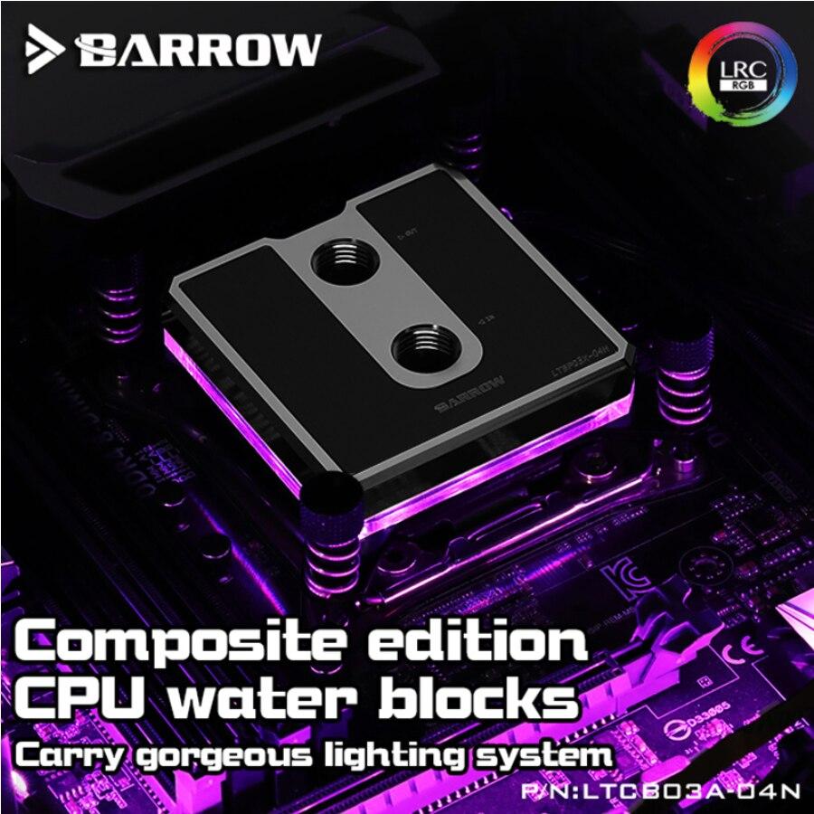 For Ryzen AM3/AM4 Composite CPU Water Blocks, POM/barss Top Optional, LRC 2.0 5v 3pin, Microwaterway Block,Barrow LTCP03A-04N