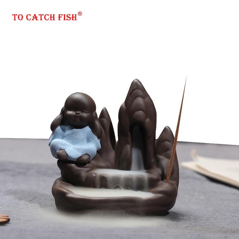 Благовония горелка + 10 шт благовоний конусы, креативный домашний Декор маленький монах кадило в виде маленького Будды обратного потока благовония горелка использовать в