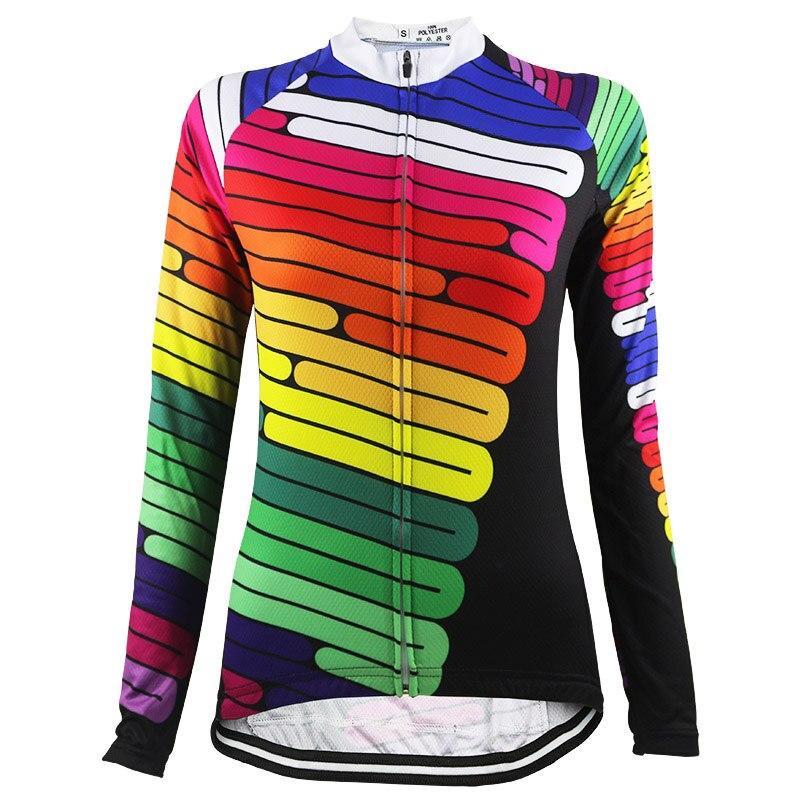 HIRBGOD, 2020, nueva camiseta de raya colorida para bicicleta, Jersey de ciclismo para mujer, ropa transpirable de manga larga para bicicleta de montaña, Tops para bicicleta, NR171