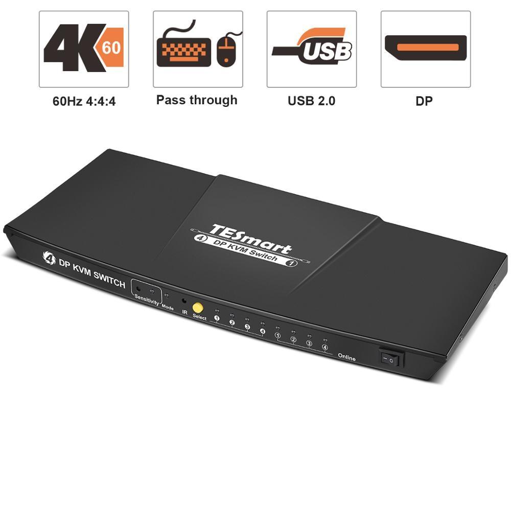 DisplayPort 4 Port 4K@60Hz Ultra HD 4x1 DP KVM Switcher with 4 Pcs 5ft KVM Cables + 4 DP Cables Supports USB 2.0 Device