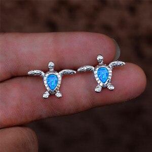 Cute Female Small Turtle Earrings Rose Gold Silver Color Stud Earrings White Blue Opal Stone Wedding Earrings For Women