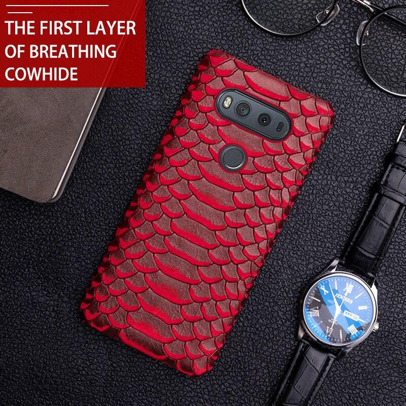 Caja del teléfono para LG V10 V20 V30 V40 V50 de piel de vaca pintado serpiente textura caso ForG3 G4 G5 G6 G7 G8s k40 K50 Q6 Q7 Q Stylo4 ThinQ