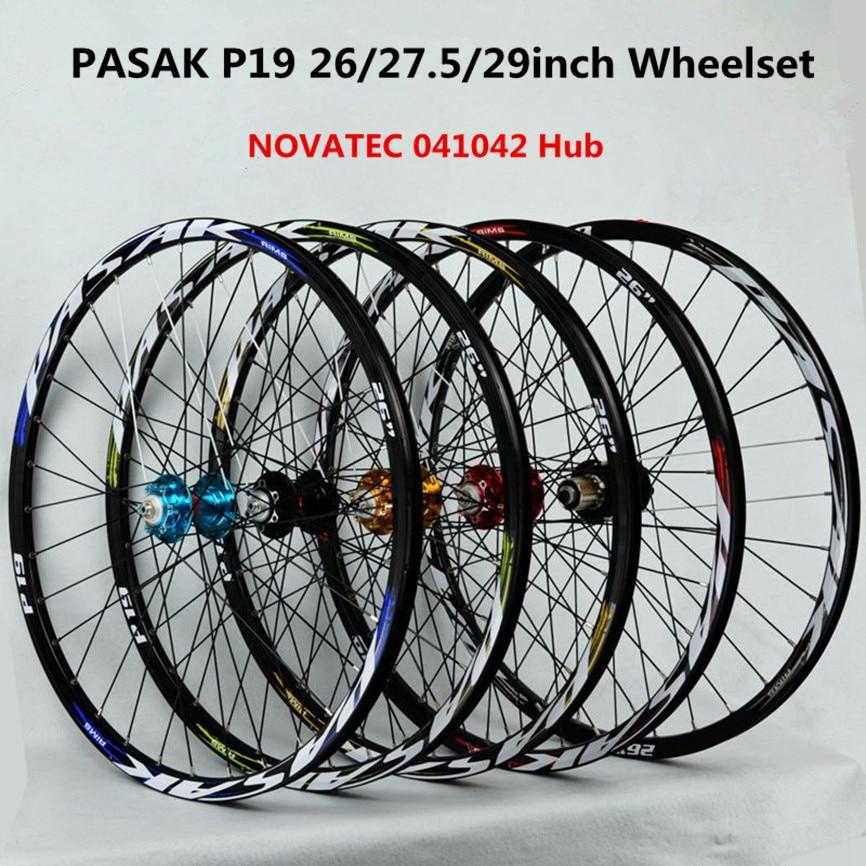 Pasak mtb mountain bike novatec hub 26/27.5/29 polegada roda selada rolamento rodado rodas de freio a disco aro liga 32h