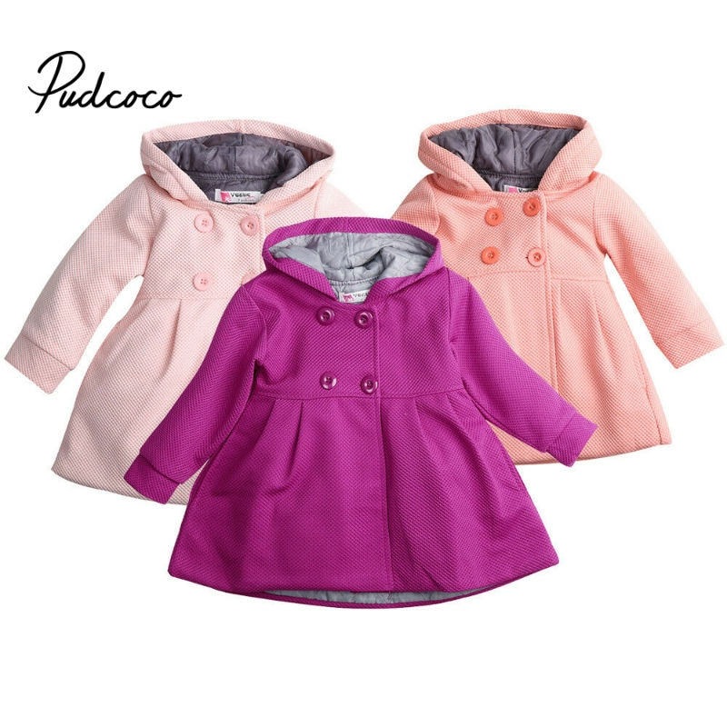 Casacos de lã de inverno para meninas trench roupas infantis 1-3years com capuz quente do bebê meninas outerwear blusão bebê crianças casacos