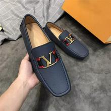 2021 New Men's PU Classic Navy Blue Metal Decoration Low Heel Comfortable Fashion Trend Casual All-m