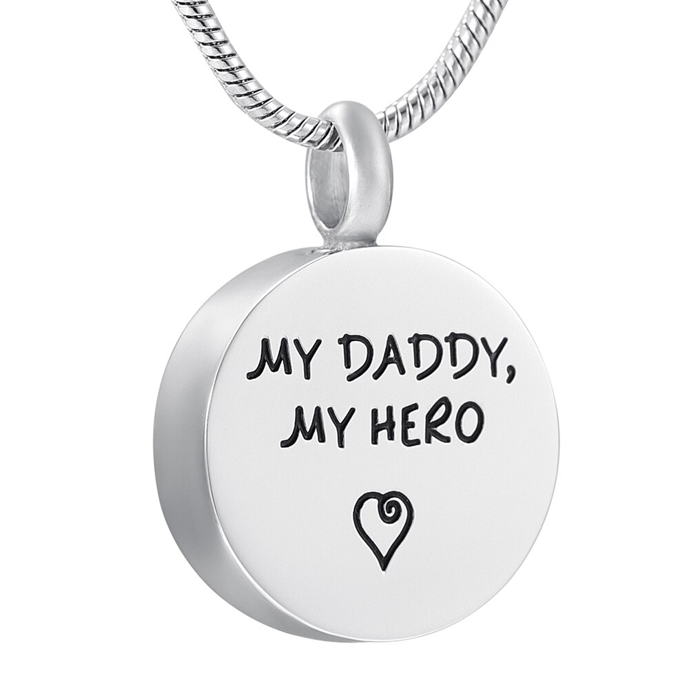 K888 mi papá mi héroe redondo urna Collar para cenizas Acero inoxidable recuerdo conmemorativo joyería cremación colgante medallón