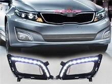 July King LED Daytime Running Lights case for KIA Optima K5 2013-2015, LED Front Bumper DRL With Full Set Fog Lamp Cover