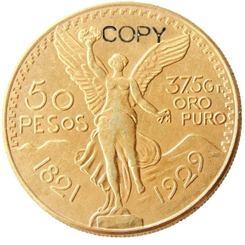 México 1929 Banhado A Ouro 50 Peso Banhado A Ouro copiar coin