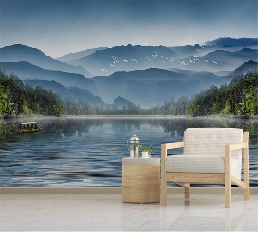 Customized 3D wallpaper mural new Chinese style ink painting landscape TV sofa background wall