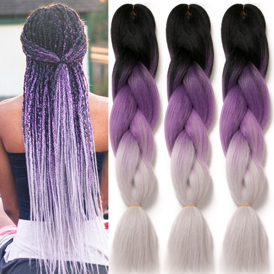 Омбре синтетические плетеные удлинители волос для вязания крючком 24 ''100 г Джамбо косы два тона Омбре цвета розовый черный серый