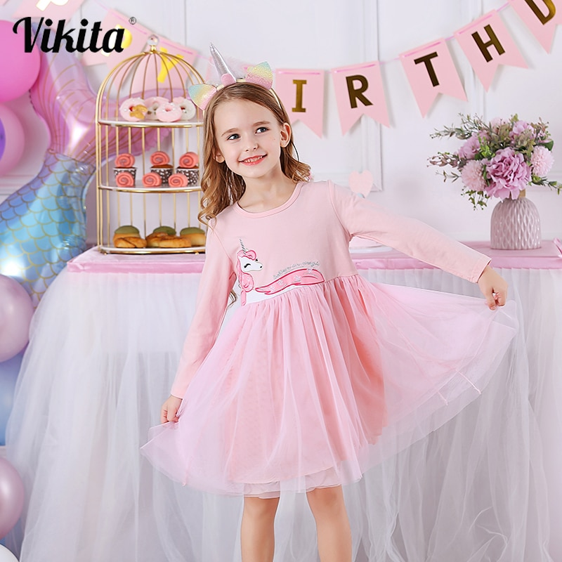 chinese style winter girls dress long sleeve embroidered cheongsam princess dresses for girls birthday party dress kids clothing VIKITA Girls Dress Long Sleeve Kids Princess Dresses Children Unicorn Vestidos Girls Dresses Autumn Winter Kids Dress for Girl