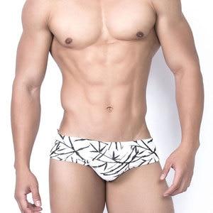 Men 's Swim Briefs Sexy Printed Bamboo Leaves Pouch Bikini Underwear Swimsuit Surf Swimwear Trunks Beach Shorts Bathing Suit