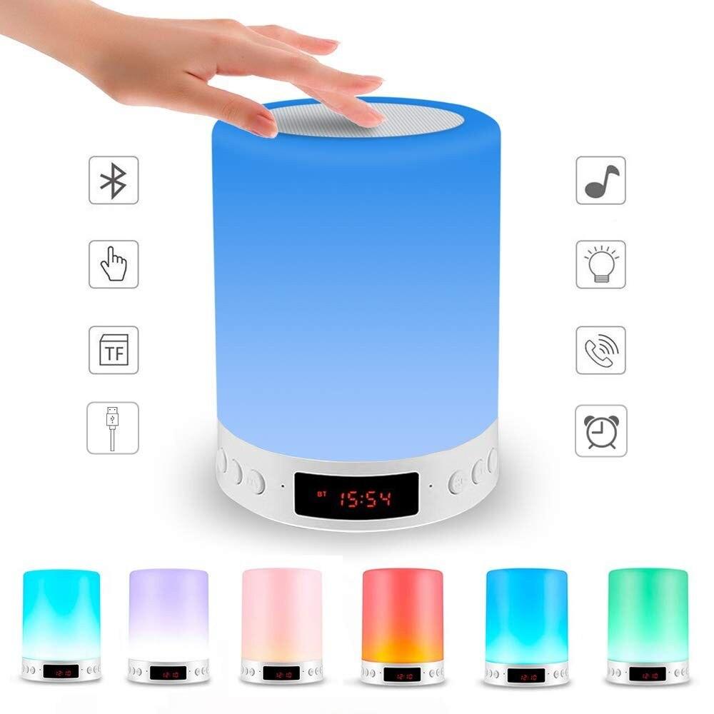 Candeiro de mesa con luz led regulable por Usb, portátil, bluetooth, despertador...