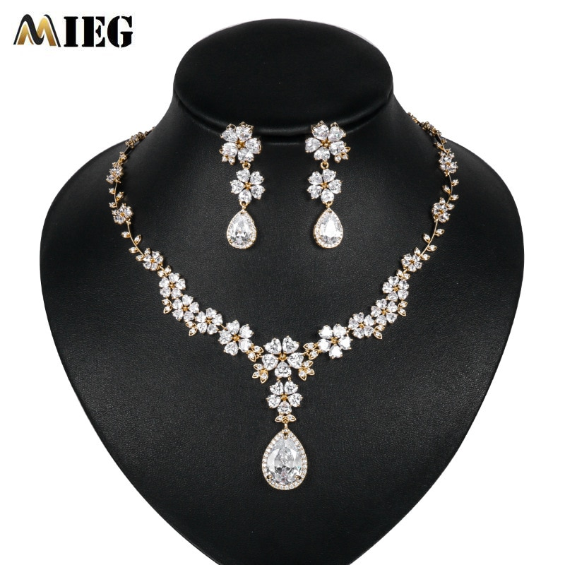 Marca MIEG brillante lágrima Zirconia cúbica collar y pendientes para boda fiesta exquisita joyería Set TL027