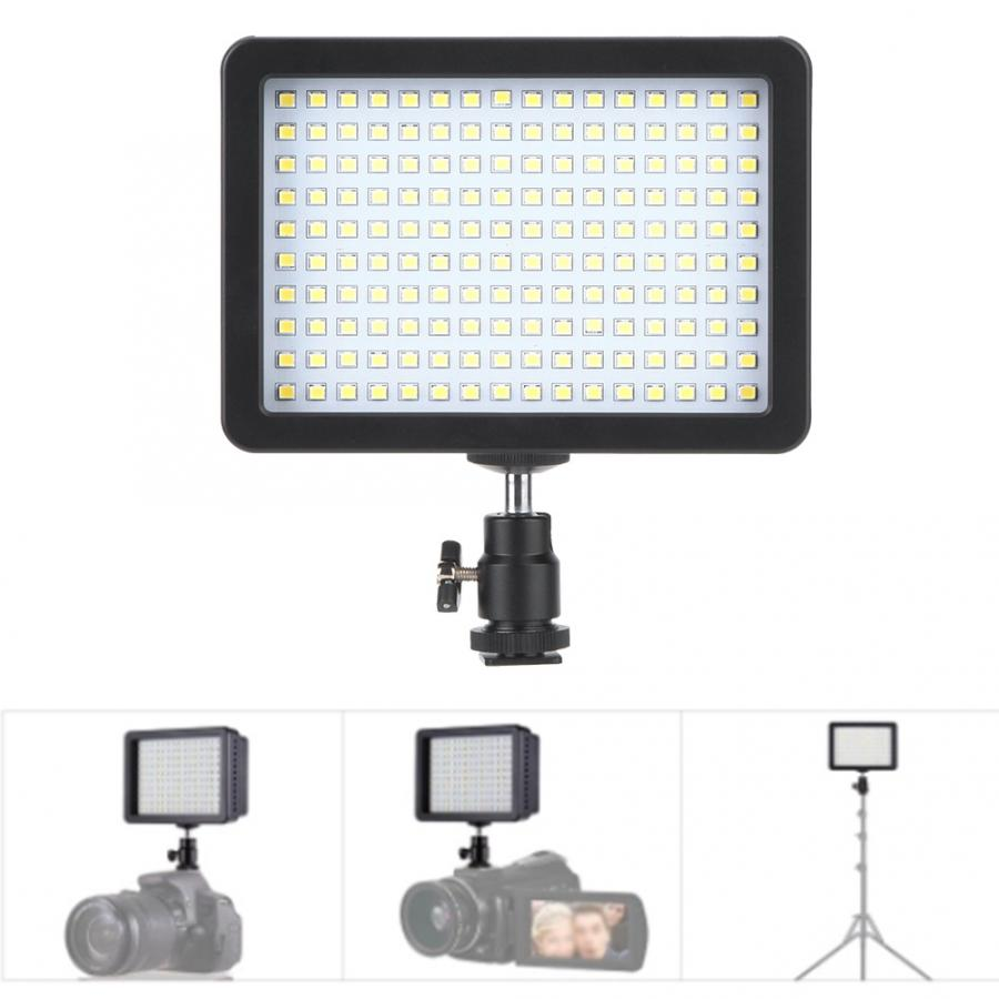 Luz de vídeo VBESTLIFE 160 luz LED para vídeo 5600K CRI85 + lámpara de relleno de cámara Digital regulable para luz de teléfono Nikon en cámara