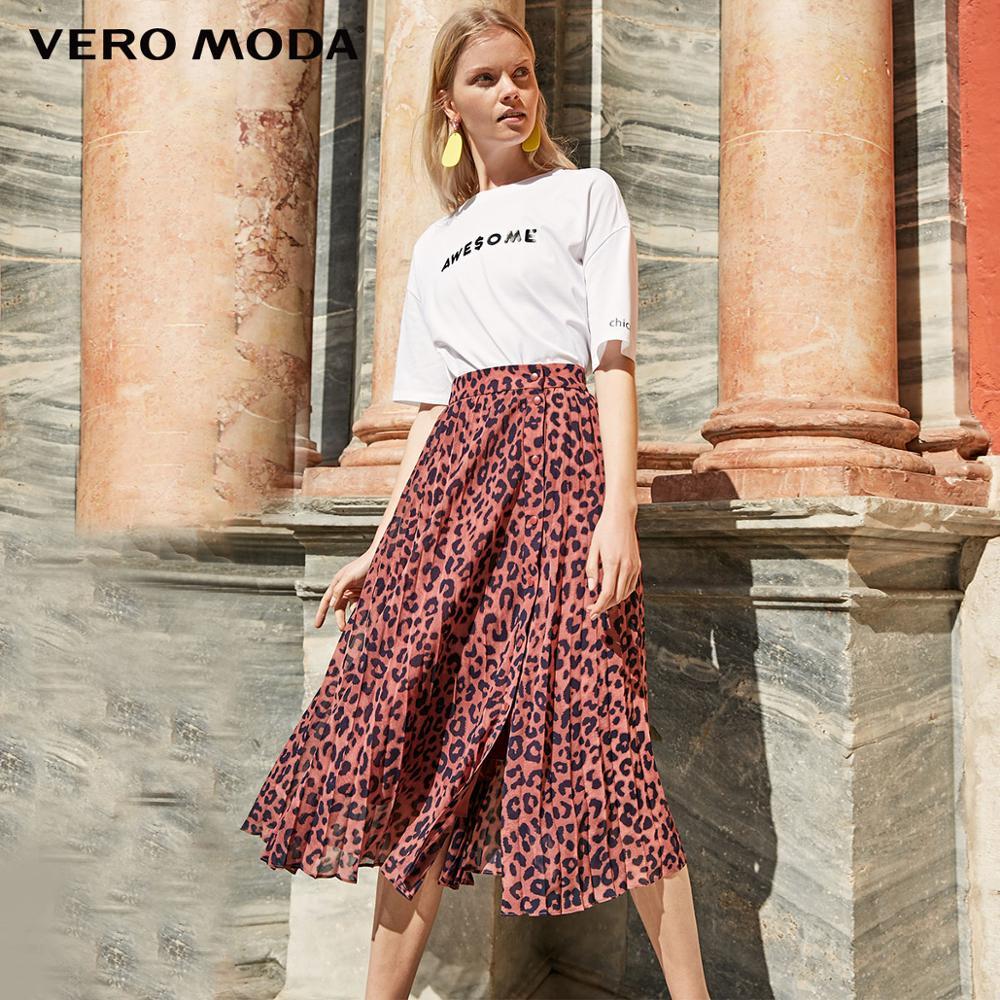 Vero Moda Falda plisada de gasa con estampado de leopardo para Mujer   319216514