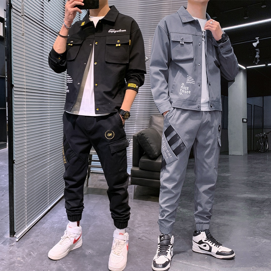 Men Spring Autumn Casual Two Piece Set Jacket and Pants Set Mens Fashion Sweatsuit Korean Style Streetwear Sport Suit