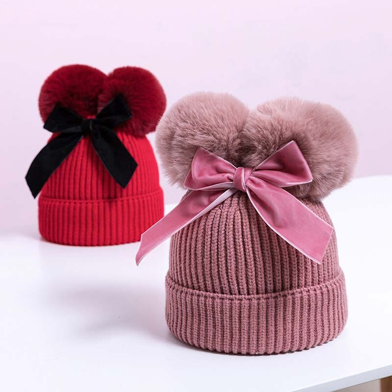 Arco lindo gorro para bebé doble pompón de punto bebé niña niño sombrero de invierno grueso de abrigo de los niños sombrero, sombrero de los niños tapa