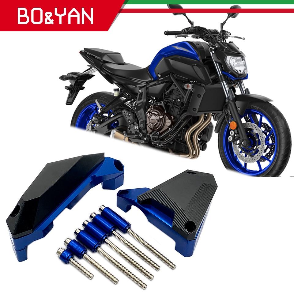 Para yamaha mt 07 mt07 fz07 MT-07 FZ-07 2014 2015 2016 2017 2018 caso do estator motor da motocicleta guarda capa protector quadro slider
