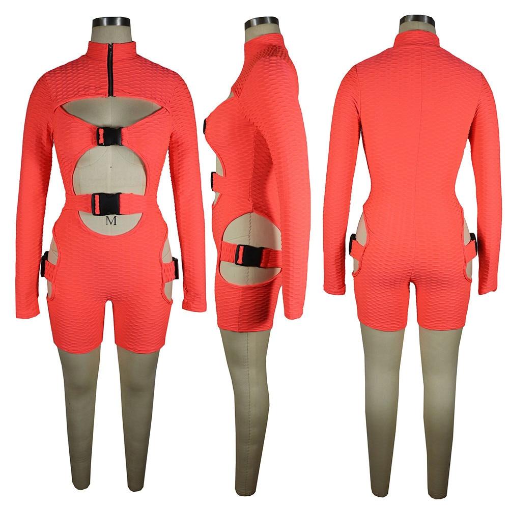 Bulk Items Wholesale Lots Moto & Biker Cycling Hollow Slim Jumpsuit Casual Simple Buckle Zipper Front Bodycon Bandage Outfits enlarge