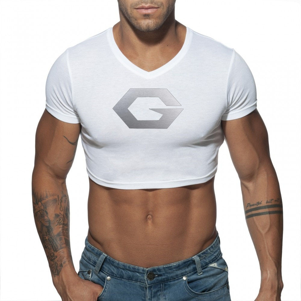 New Men's T Shirt Cotton Sports Vest Yoga Clothes Absorb Sweat Europe And the United States Sexy V Neck Navel Exposed Underwear