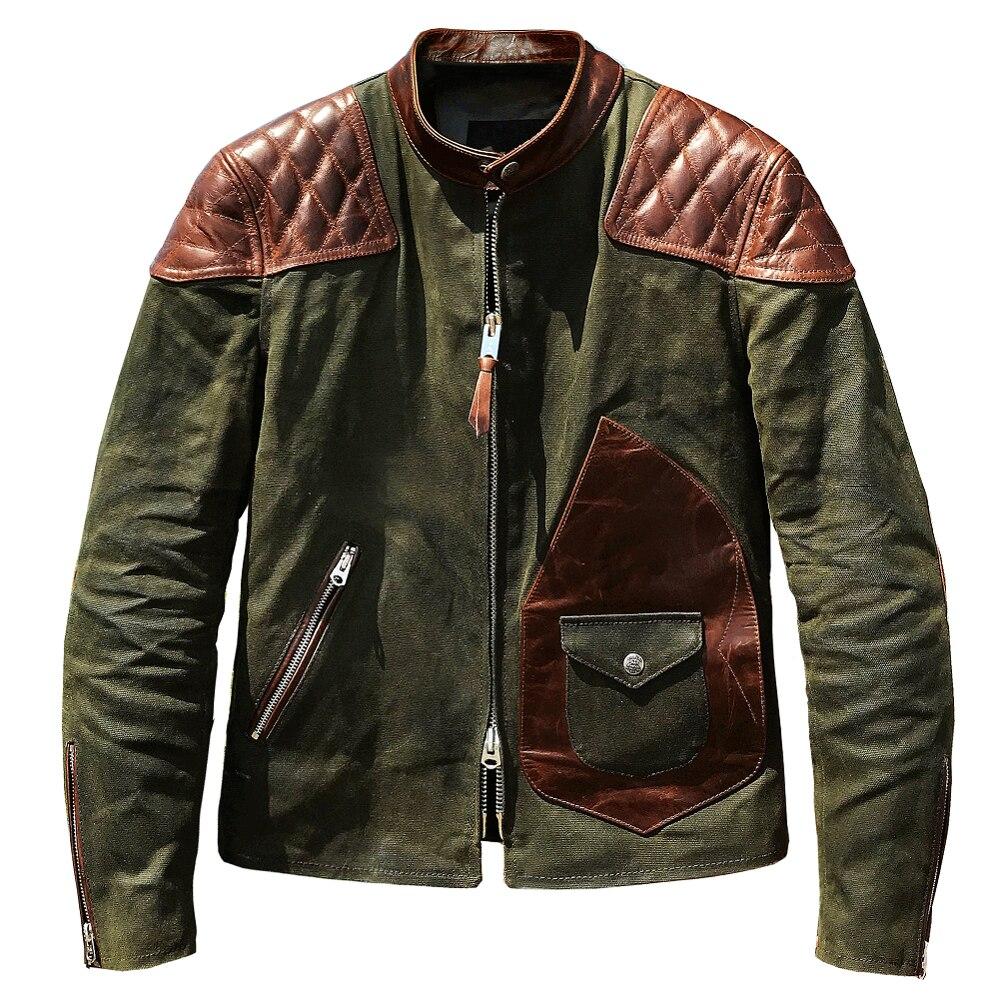 Men's Hunting Jacket Field Jacket Oil Wax Canvas  American casual wear Genuine Leather Jacket Splice Wild Cowhide Green