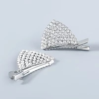 2021 new fashion alloy rhinestone geometric cat ear style hairpin trend cute duckbill clip party shiny decoration accessories