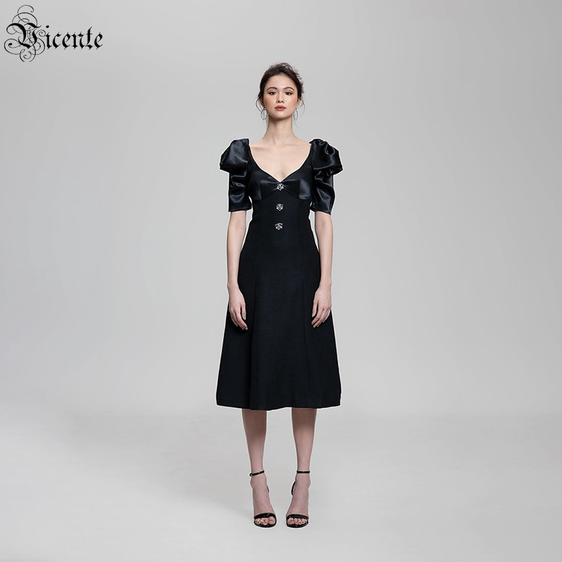 VC السيدات فستان حفلة المشاهير فستان فقاعة قصيرة الأكمام الخامس الرقبة زر تصميم أسود منتصف طول فستان