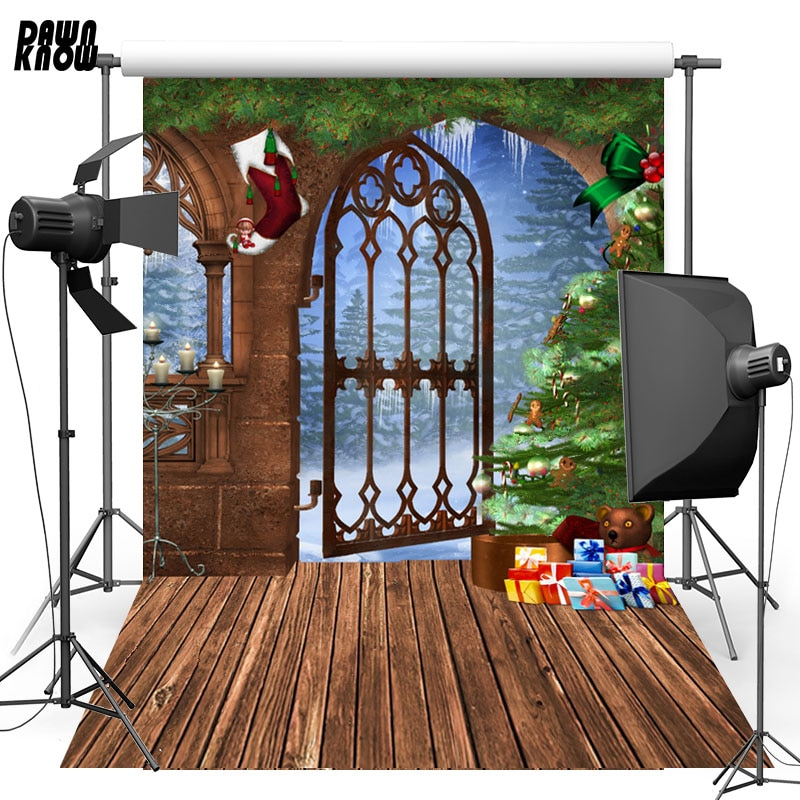 DAWNKNOW Door Vinyl Photography Background For Baby Christmas Tree Floor Photo Shoot Backdrop For Christmas Photo Studio L832