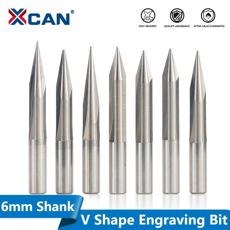 XCAN CNC Carving Bit 1pc 6mm Shank 15/20/25/30 Degrees V Shape End Mill Tip 0.3-1.0mm 2 Flute Wood PVC Acrylic Engraving Bit