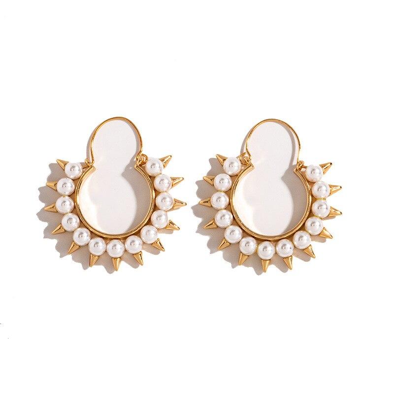 WHOMEWHO, pendientes de aro geométricos con Piercing de girasol dorado, perlas minimalistas, moda coreana, joyería hip hop Pop