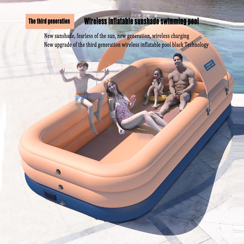 2.1M grande taille piscine enfants famille gonflage piscine bébé océan balle sable extérieur intérieur eau piscine carré