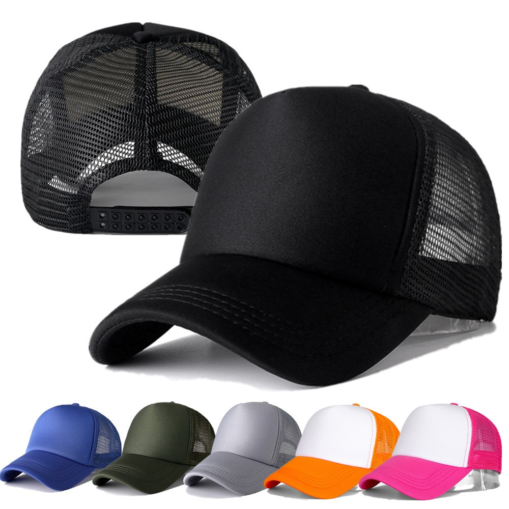 AliExpress - 1 PCS Unisex Cap Casual Plain Mesh Baseball Cap Adjustable Snapback Hats For Women Men Hip Hop Trucker Cap Streetwear Dad Hat