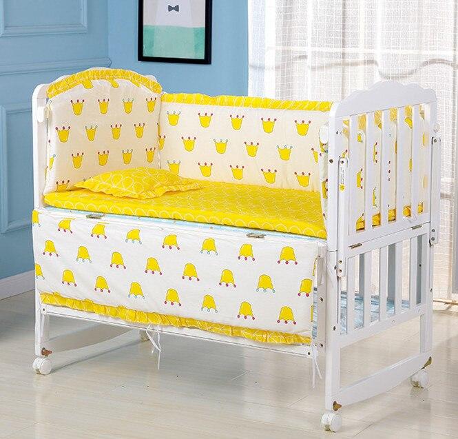 6 stücke Gelb baby krippe schlafzimmer set mit füllstoff, baby bettwäsche-sets Bett Stoßstange Für Neugeborene, enthalten (4 stoßfänger + matratze + kissen)